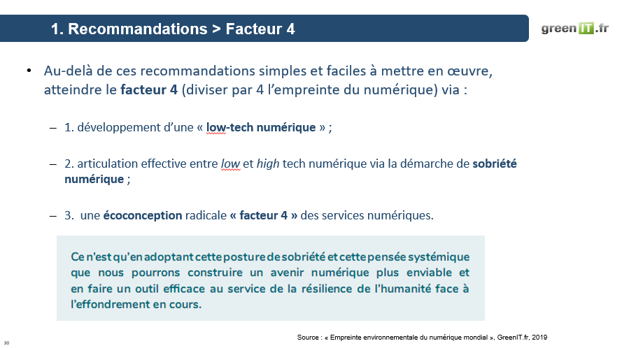 recommandations facteur 4 green IT